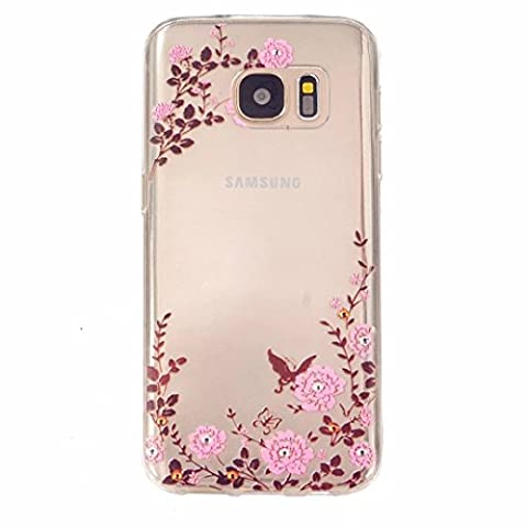 MUTOUREN Samsung Galaxy S7 case cover Soft Silicone Bumper Ultra Thin Slim Flexible Cover Case ,High Quality TPU with Colorful Cute Printed Pattern Fashion Design Protective Back Rubber Case Cover Shell Perfect Fitted Edge- pink flower butterflies garden