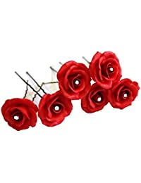 C.S Collection Red Rose Flower With Crystal Hair Pin Bun Pin Bun Decorative Hair Accessories For Girls Womens...