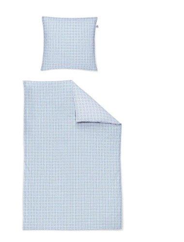 Irisette Mako Satin Bettwäsche 2 teilig Bettbezug 155 x 220 cm Kopfkissenbezug 80 x 80 cm Capri 332457-20 Bleu -