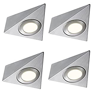 4 X LED MAINS TRIANGLE LIGHT KITCHEN UNDER CABINET UNIT CUPBOARD COOL WHITE