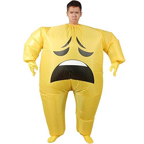 MIMI KING Aufblasbares Emoji-Kostüm Für Erwachsene, Halloween-Lustige Face Cosplay-Performance,Depressed