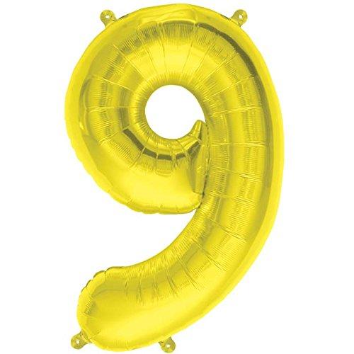 NorthStar Balloons-Ballon Aluminium Chiffre 9 Or De 41Cm Non Gonflé