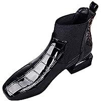 SCHOLIEBEN Chelsea Boots Stiefel Damen Ankle Winter Schwarz Kurzschaft Halbschaft Absatz High Heel Plateau Chukka Zipper