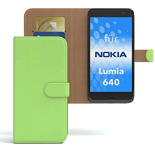 EAZY CASE Hülle für Nokia Lumia 640 Dual SIM Bookstyle mit Standfunktion, Book-Style Case aufklappbar, Schutzhülle, Flipcase, Flipstyle, Flipcover mit 2 Kartenfächern aus Kunstleder, Grün