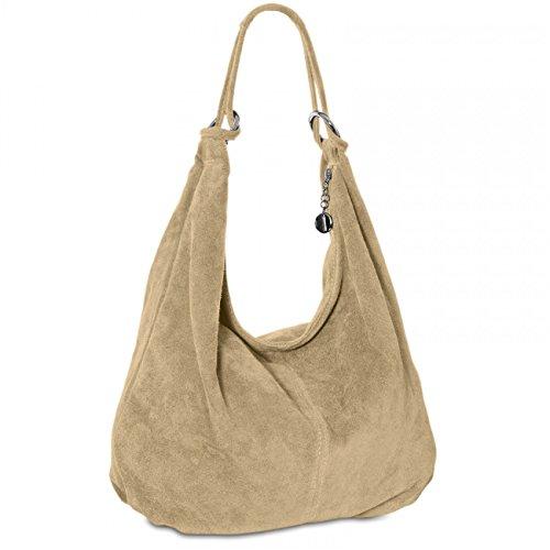 CASPAR TL617 Damen Vintage Veloursleder Tasche/Handtasche/Hobo Bag/Shopper, Farbe:khaki -