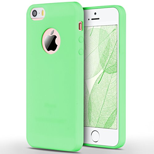 iPhone 5 / 5S / SE Hülle, Yokata Einfarbig Jelly Weich Silikon Gel Case Ultra Slim Matte Cover Anti-Fingerprint Schutzhülle Sehr Dünn Handyhülle - Rosa Grün