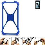 K-S-Trade Handyhülle für Archos Sense 47X Silikon Schutz Hülle Cover Case Bumper Silikoncase TPU Softcase Schutzhülle Smartphone Stoßschutz, blau (1x)