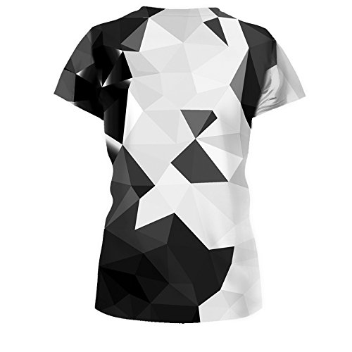 AMOMA Frauen Unisex Casual 3D-Printed T-Shirts Kurzarm-Oberseiten-T-Stücke Black White Triangle