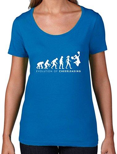 Kostüm Cheerdance Blau (Evolution of Woman - Cheerleading - Damen T-Shirt mit Rundhalsausschnitt- Royalblau -)
