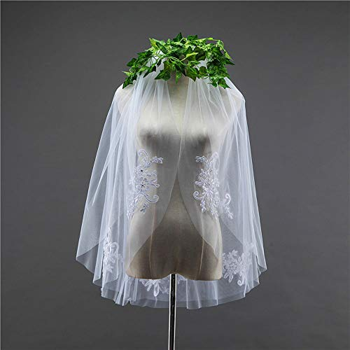 DEAR-JY Hochzeitsschleier, doppelseitige Gaze Schweizer Netz einfacher weicher Netzbrautschleier mit Kamm, Brautschleier weiß/Elfenbein kurzes Blumengesteck mit Glasbohrer,White -