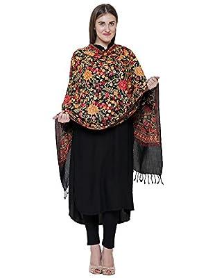 Matelco Women's Pashmina Floral Embroidered Stole (MSBK12, Black, Medium)