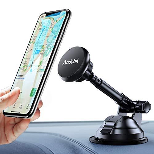 andobil Auto Handyhalterung, Handyhalter fürs Auto mit 360 °drehbaren Kugelkopf verstellbare Arme und super stark Magnetismus KFZ Magnet Halterung für Smartphone Oder GPS-Gerät