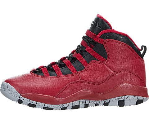 Nike Boys Air Jordan 10 Retro 30th BG Bulls over Broadway Gym Red-Black-Wolf Grey Leather Size 5.5Y Basketball Shoes