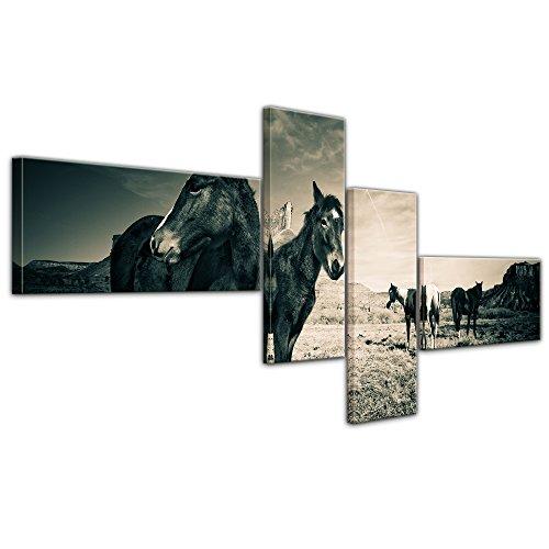 Kunstdruck - Pferde am Colorado Canyon - 140x65 cm 4 teilig - Bilder als Leinwanddruck - Wandbild von Bilderdepot24 - Tierwelten - Amerika - Natur - schwarzweiß - Pferdeherde am Canyon