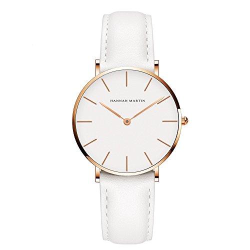 L'ananas-Uhren Frauen minimalistischen Stil Wasserdicht Anolog-Geschäft Quarz-PU-Leder Armbanduhr mit Geschenkbox (Weiß + Gold)