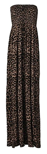 nieuwe dames sheering boob tube maxi jurk big size vrouwen strapless lange maxi gedrukt zomer jurk plus size 44-50 XL XXL Leopard Print