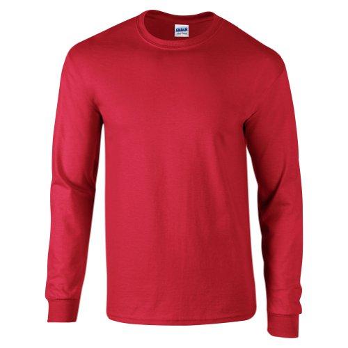 Gildan Ultra, Langarmshirt, Baumwolle Gr. L, rot