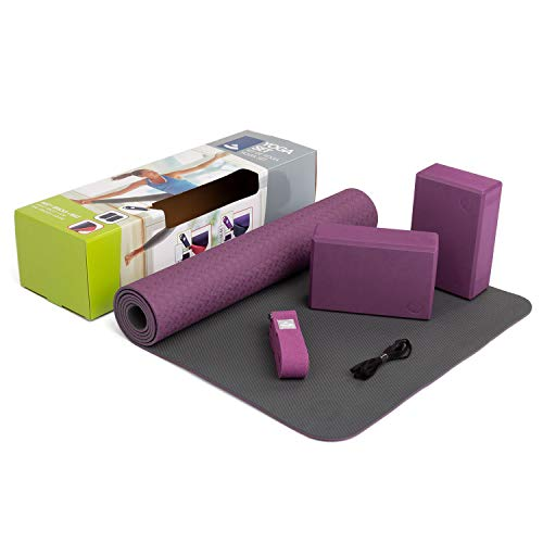 "YogaSet""Flow"" (lila), 1 Yogamatte aus TPE, 2 Yoga-Bricks aus EVA (Moosgummi), 1 Yoga-Gurt aus Baumwolle, Einsteiger-Set, Yoga-Set für Anfänger"