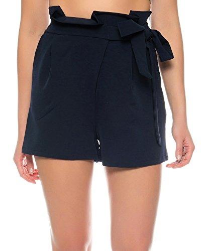 Kendindza Damen Sommer High-Waist Shorts | kurze Chino-Hose | Stoff-Hose hohe taille mit Gürtel (Blau, S)