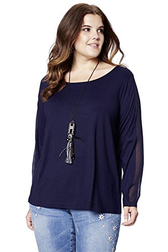 Studio Untold Damen große Größen bis 54   Sweatshirts   Langarm Shirt   Oberteil mit Chiffon   Komfort-Jersey   Rundhals, ¾ Ärmel / Stretch   Regular Fit   702631 Marine