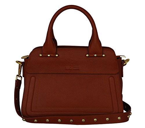 SILVIO TOSSI Damen Leder Handtasche Schultertasche Ziegel Modell 12620-03 -
