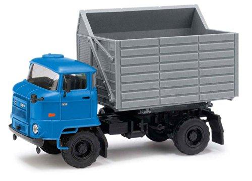 Busch Voitures - BUV95501 - Modélisme - Camion Bleu L60 SHA - Remorque à Bords Hauts Gris