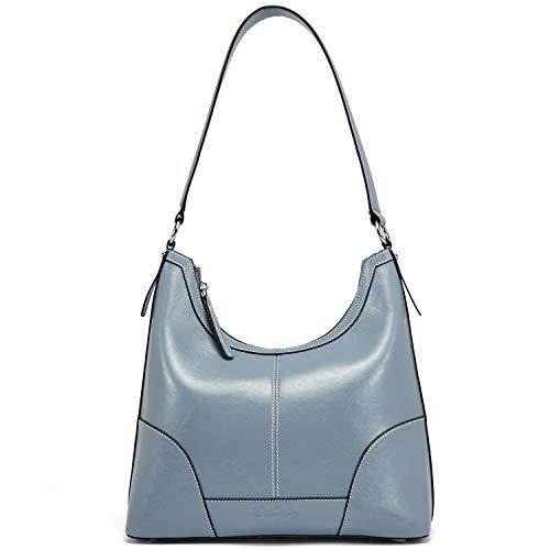 BOSTANTEN Leder Handtaschen Damen Designer Schultertasche Hobo Taschen Henkeltaschen Tote Bag Hellblau - Leder-designer-handtasche