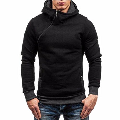 Felpa uomo, reasoncool pullover casuale maglione con cappuccio zip uomini di (size:xl, nero)