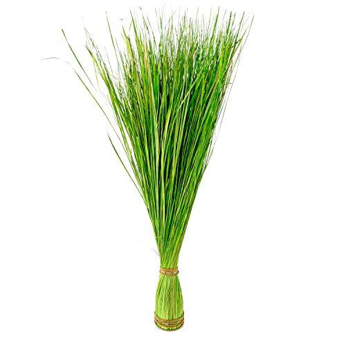 Roomando Dekogras künstlich hoch Kunstgras Ziergras Grasbündel Gras im Bund Naturgras grün/weiß (grün 105 cm)