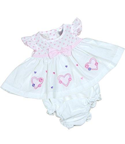 BabyPrem Bébé Prématuré Robe Culotte Ensemble Filles Vêtements Coeurs 3-5lb (38-44cm) BLANC