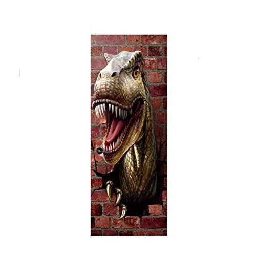 Demaple Simulation 3D Dinosaurier Tür Aufkleber Home Dreidimensionale Persönlichkeit Wasserdichte Tür Aufkleber