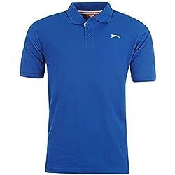 Slazenger Polo para hombre, de manga corta, azul, XL