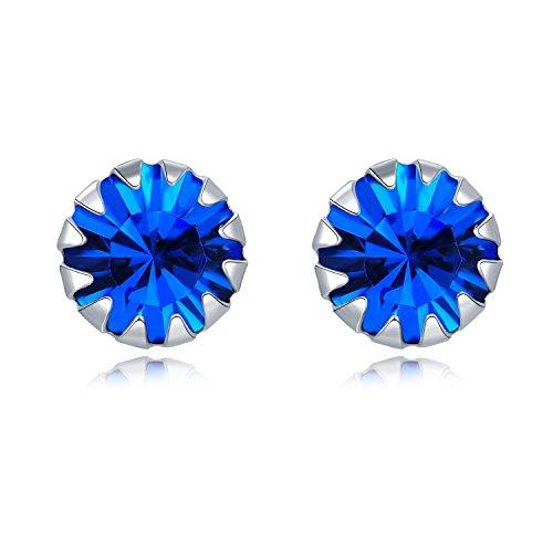 925Sterling Silber Royal Blau CZ Runde Ohrstecker Frauen Schmuck Geschenk (Tiffany Blau Ohrstecker)