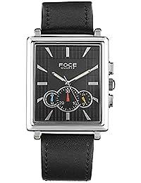 FOCE Black Square Analog Wrist Watch for Men with Black Genuine Leather Strap - F729GSL-BLACK