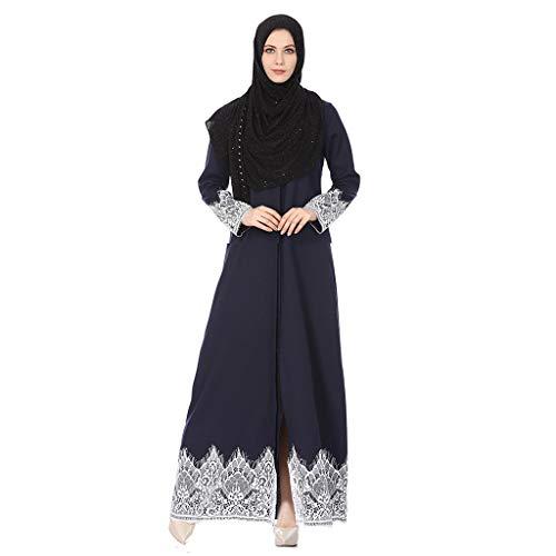 friendGG Damen Vintage Rockabilly Swing Kleider,Moslemische Damenmode Volle Schnalle National Style Lace Robes Langes Kleid Strickjacke Dubai Kaftan Abaya Muslimische Mit Abschlussballkleid -