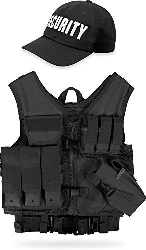 Kostüm Swat Airsoft Set - normani Set aus taktischer Einsatz Weste USMC, Lochkoppel und Cap FBI, SWAT, Police, Security Farbe Schwarz Security