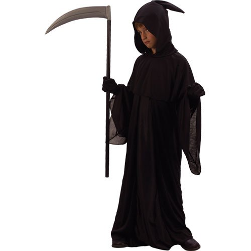 Gruseliger Sensenmann Horror Tod Verkleidung Jungs Karneval Halloween Kostüm (Sensenmann Kinder Kostüm)