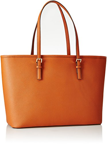 Michael Jet Leather Travel Saffiano Set Henkeltaschen Tote Orange Kors zip Top CC57qwr