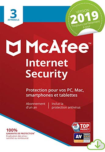 McAfee Internet Security 2019 | 3 Appareils | 1an d'abonnement | PC/Mac/Android/Smartphones [Download Code]