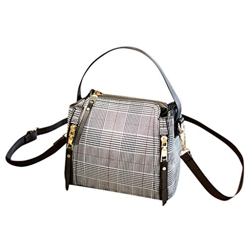 Bfmyxgs Elegent Lady Womens Simple Fashion Plaid Joker Bucket Bag Einzelner Schulter Messenger Bags