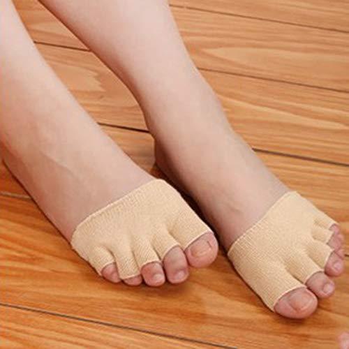 Mujeres Niñas antideslizantes Tacones Altos Sandalia Invisible Medio Footie Punta abierta de Punto aparte 5 dedos de Los Pies calcetines de absorción de sudor Caliente