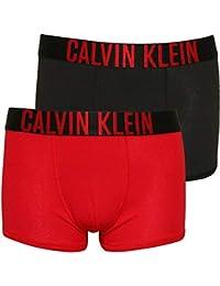 Calvin Klein 2-Pack De Los Niños De La Insignia Negrita Boxer Troncos, Rojo
