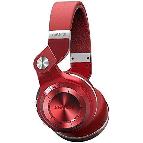 Bluedio T2 plus auriculares inalambricos bluetooth 4.1 con radio incorporada y micro sd (Rojo)