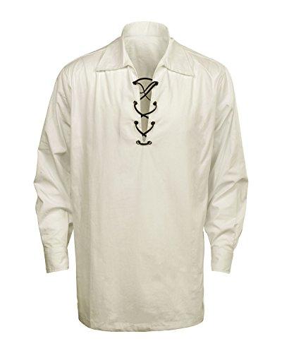 (Cusfull Männer Schottisches Jacobite Ghillie Kilt Hemd Herren Schnürhemd - Schwarz/Weiß/Creme)