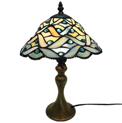 Yjmgrowing Einfacher 10-Zoll-Schreibtisch neben Lampen Tiffany Stil Glasmalerei Tischlampe für Study Room Cafe Retro Nachtlicht,E27 (25 * 42CM) -