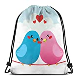 Drawstring Sack Backpacks Bags,Colorful Two Lovely Birds Motif Perched Cheek to Cheek On A Wire Valentines Day Theme,Adjustable.,5 Liter Capacity,Adjustable.