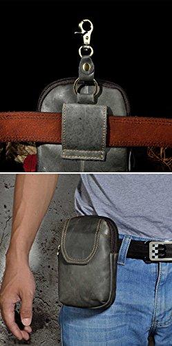Le'aokuu Herren Leder Sportlich Motorrad Hüfttasche Gürteltasche Kleine Haken Taille Waist Pack Telefon Beutel Tasche 013 013 grau 2