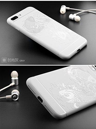 "Gukas Housse Coque TPU Silicone Case Etui Cover Pour Apple iPhone 7 Plus / iphone 8 plus 5.5"" Gel Ultra Slim Soft Rubber Shock Absorber Flexible Bumper Protective (Noir) Gris"