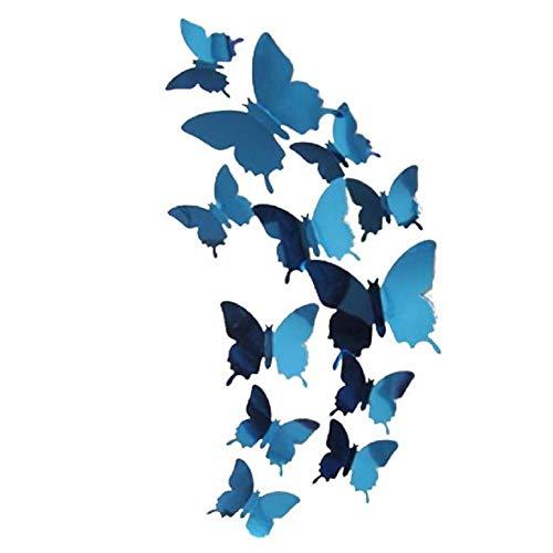 Carry stone 12 stücke DIY 3D Spiegel Schmetterling Künstlerische Abziehbilder Personalisierte Bunte Hauptdekorationen Wandaufkleber mit Kleber (Blau) Langlebig und Praktisch