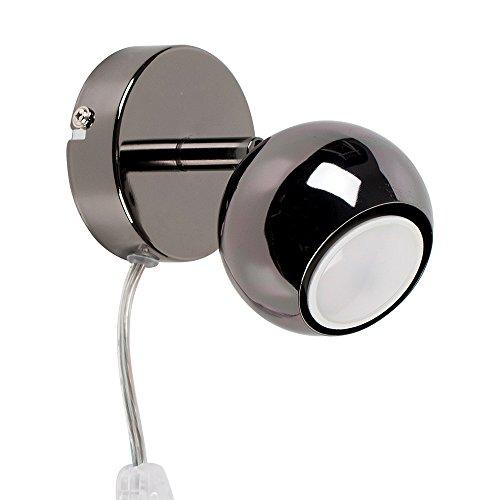 MiniSun Applique Murale 1 Spot Orientable 'Globe Oculaire'. Cordon Intégré (fil, fiche & interrupteur). Finition élégant en chrome Foncé Poli